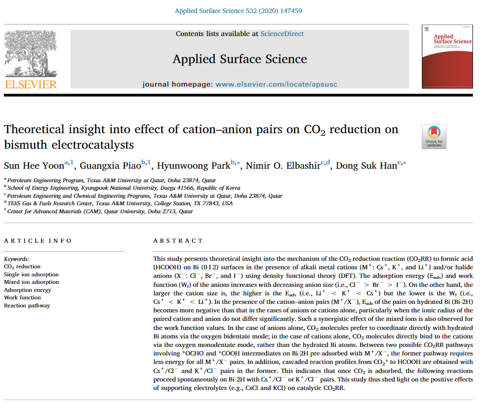 Paper on effect of cation–anion pairs on CO2 reduction on bismuth electrocatalysts published in Applied Surface Science!