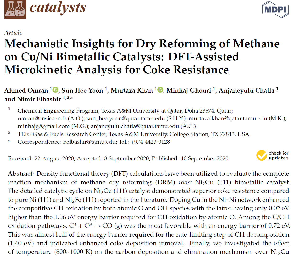 Article on Density Functional Theory mechanism of DRM on Ni-Cu bimetallic catalyst published!