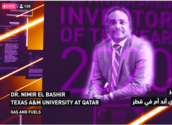 """Prof. Elbashir awarded """"Distinguished Inventor of the Year 2020"""" at Qatar Foundation Research and Innovation Showcase! Whoop!"""